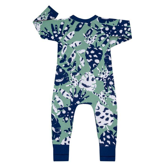Pijama con cremallera de algodón elástico verde estampado tropical, , DIM