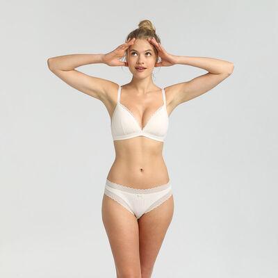Dim Cotton Lace pearl cotton wireless padded triangle bra, , DIM