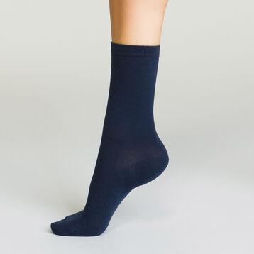 Calcetines azul marino de algodón para mujer Basic Coton, , DIM