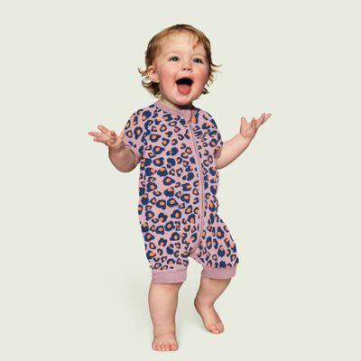 Pijama de manga corta con cremallera de algodón elástico rosa estampado leopardo, , DIM