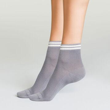 Pack de 2 pares de calcetines bajos gris plata de algodón y lurex, , DIM