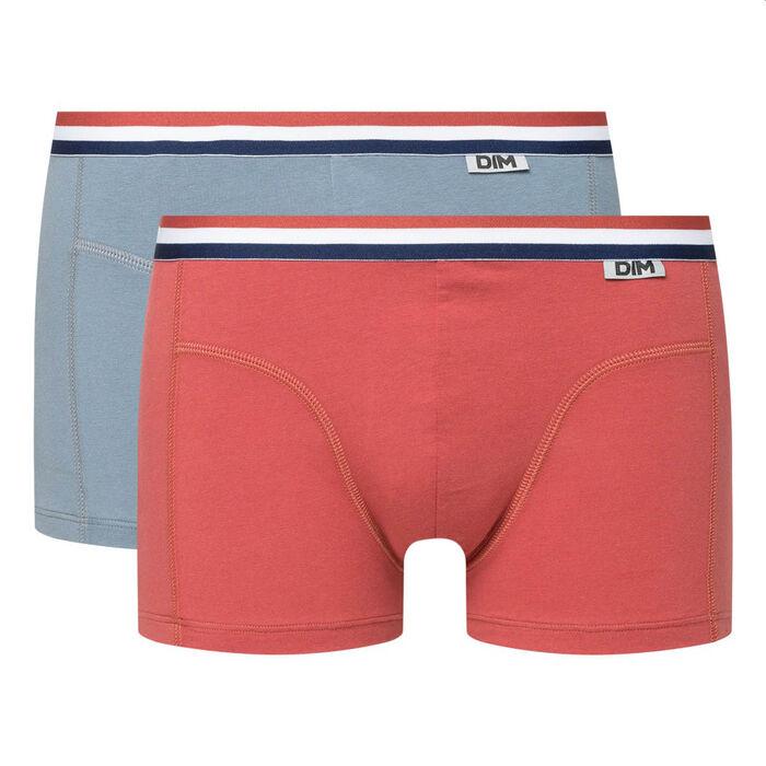 Pack de 2 bóxers de algodón elástico cintura tricolor rojo y gris EcoDIM, , DIM