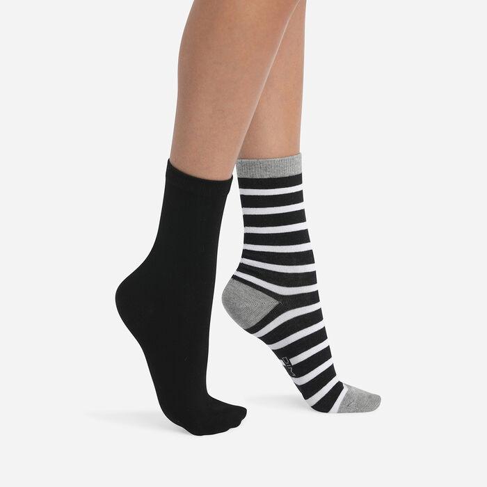 Juego de 2 pares de calcetines de mujer de rayas Gris Claro Coton Style, , DIM