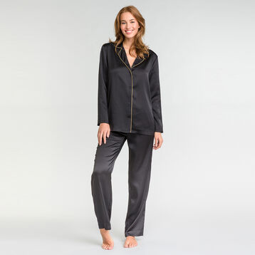 Camisa pijama negra satén - Glamour Chic, , DIM