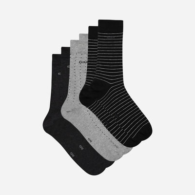Lote de 3 calcetines negros y antracita con lunares y rayas para hombre, , DIM