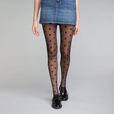 Panti plumetis negro topos grandes 20D - Dim Style, , DIM