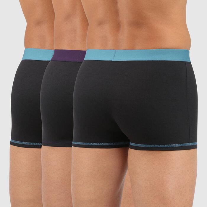 Pack de 3 bóxers de algodón con cintura colorida negra, verde, violeta Mix and Colors, , DIM