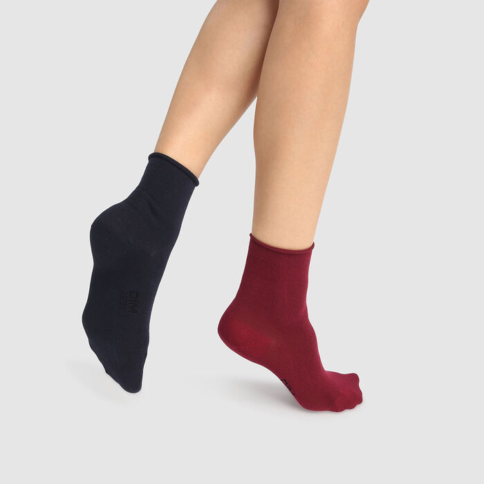 Pack de 2 pares de calcetines modal burdeos y azul marino Dim Modal, , DIM
