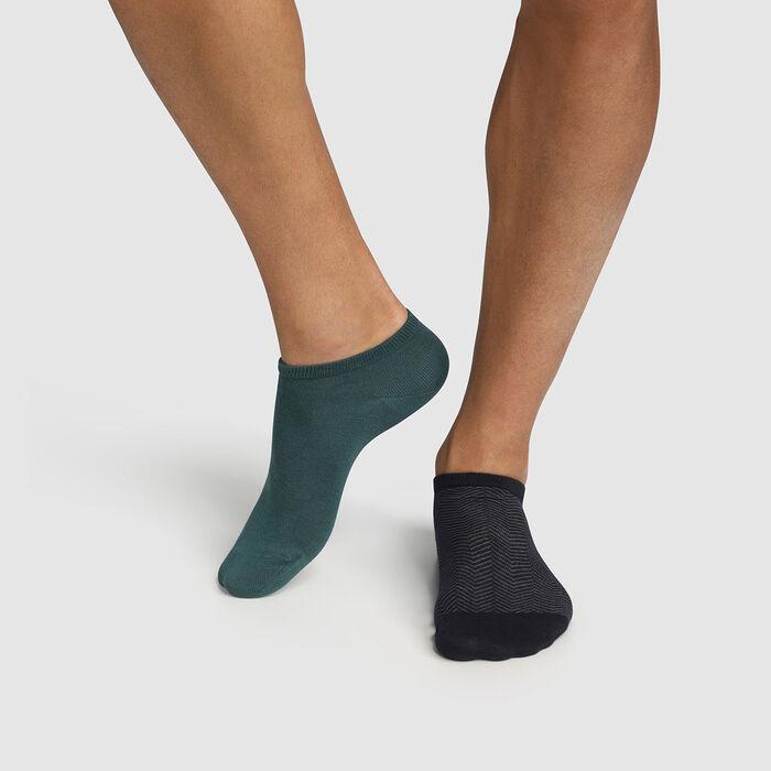 Pack de 2 pares de calcetines bajos para hombre estampado espiga verde Coton Style, , DIM