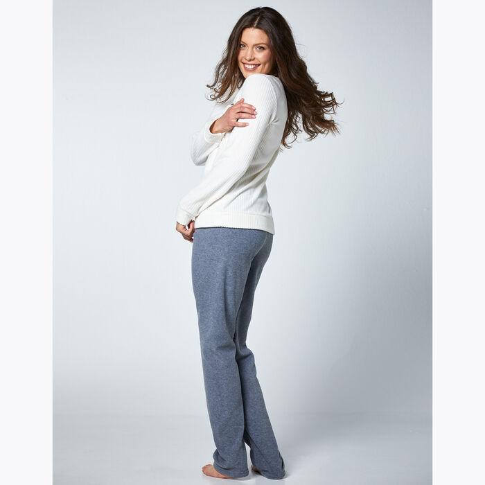 Conjunto de pijama de mujer marfil y gris, , DIM