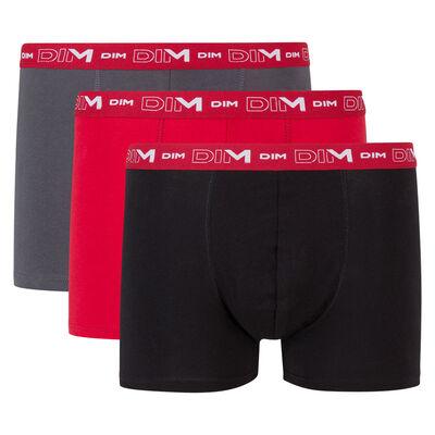 Pack de 3 bóxers gris, rojo y negro de algodón elástico Coton Stretch, , DIM