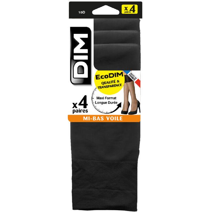 Pack de 4 pares de medias negras EcoDIM 15D, , DIM