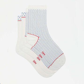 Pack de 2 pares de calcetines de algodón marfil y plumetis Coton Style, , DIM