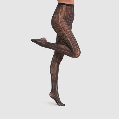 Pantis de red con estampado de encaje vertical Dim Style 73D, , DIM
