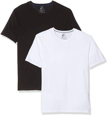 Pack de 2 camisetas de cuello redondo 100% algodón X-Temp blanco y negro, , DIM