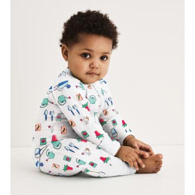 Pijama para bebé con cremallera de algodón elástico blanco estampado jardinero Dim Baby, , DIM