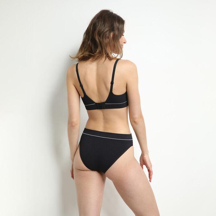 Bragas de cintura alta escotadas en tejido acanalado Negro Original Retro, , DIM