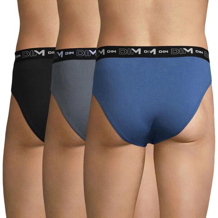 Pack de 3 slips de algodón azul gris y negro - Coton Stretch, , DIM