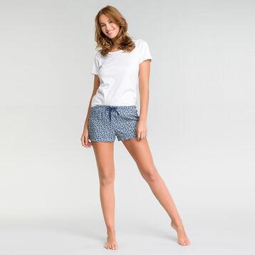Pantalón corto de pijama azul con estampado azul de flores - Fashion, , DIM