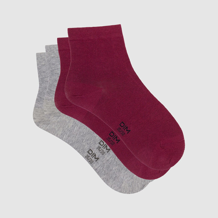 Pack de 2 pares de calcetines bajos para mujer burdeos gris claro Basic Coton, , DIM