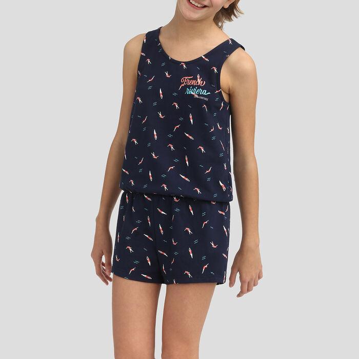 Mono azul marino estampado para niña 100% algodón, , DIM