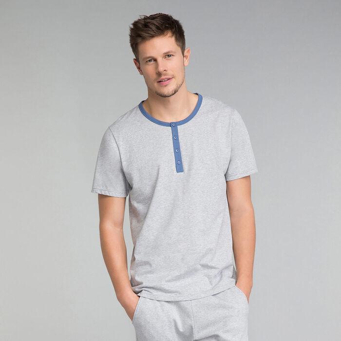 Camiseta de pijama gris con detalles azules - Essential, , DIM