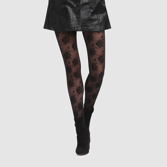 Panty fantasía negro estampado rosas Style de Dim 20D, , DIM