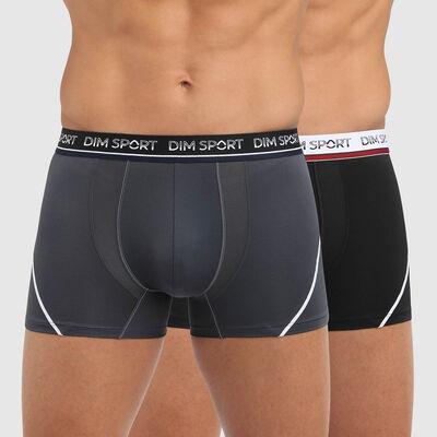 Pack de 2 bóxers para hombre de microfibra antitranspirante gris y negro Dim Sport, , DIM