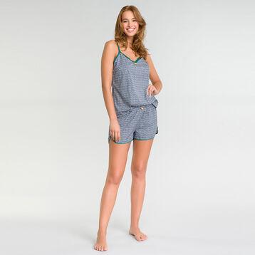 Camiseta de tirantes de pijama estampada verde y azul con encaje - DIM Odyssée, , DIM