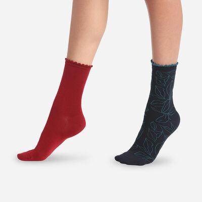 Juego de 2 pares de calcetines de mujer hojas XL Granate Dim Bambú, , DIM