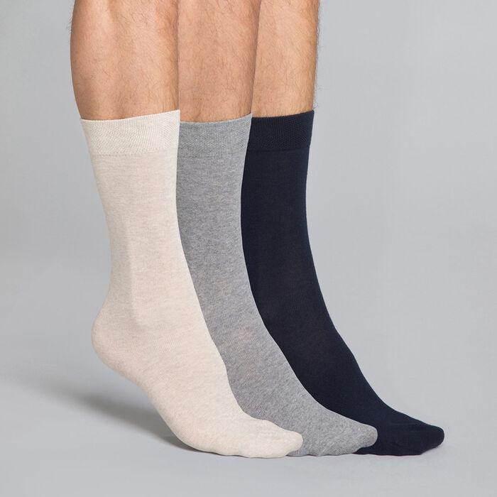 Pack de 3 pares de calcetines de algodón azules, beiges y grises Hombre - Basic Coton, , DIM
