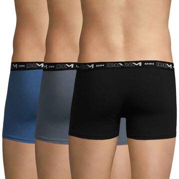 Lot de 3 boxers bleu, gris et noir Coton Stretch-DIM