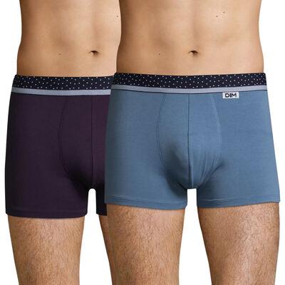 Pack de 2 bóxers azul y violeta y cintura de topos Mix & Dots , , DIM