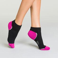 Pack de 3 pares de calcetines de deporte bajos para mujer negros y violetas, , DIM