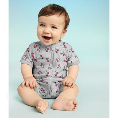 Pelele para bebé con cremallera de algodón elástico gris estampado cerezas Dim Baby, , DIM