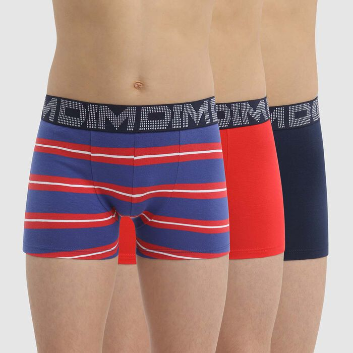 Pack de 3 bóxer para niño de algodón elástico a rayas Rojo Azul Dim Rythmics, , DIM