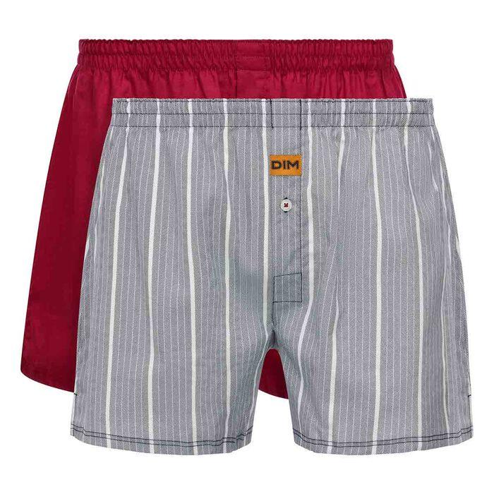 Pack de 2 calzoncillos rojo y estampado de rayas 100% algodón, , DIM