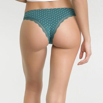 Braguita brasileña de algodón verde con estampado de triángulos marfil - Table Panties, , DIM