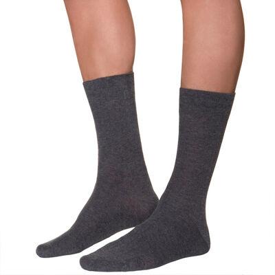 Calcetines de media pantorrilla color antracita acanalados para hombre, , DIM