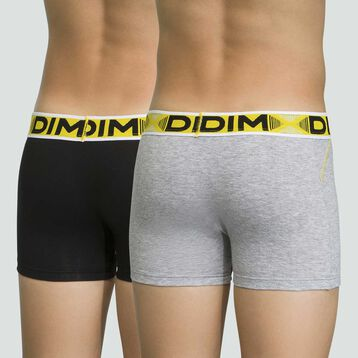 Pack de 2 boxers para niño grises de algodón elástico 3D Flex Air, , DIM