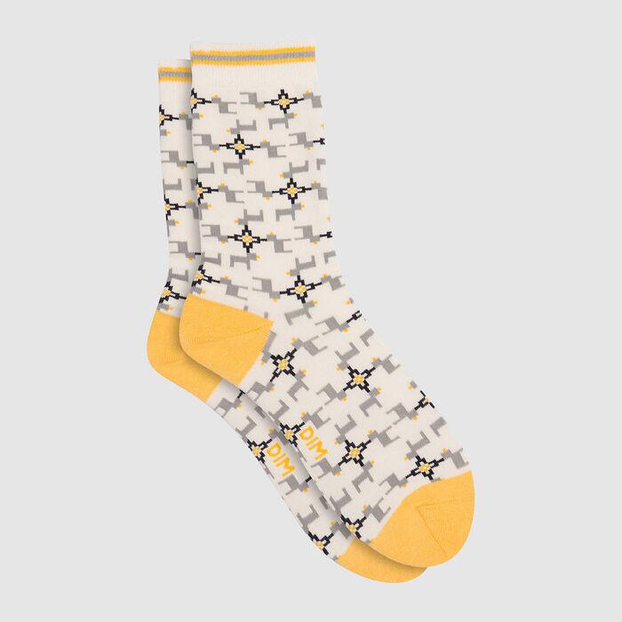 Calcetines unisex de algodón peinado estampado de renos amarillo Color Sox, , DIM