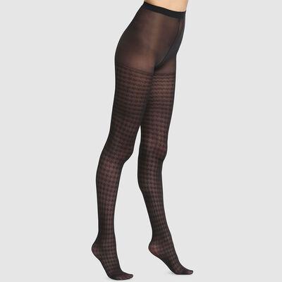 Panti de fantasía estampado pata de gallo negro Dim Style 42D, , DIM