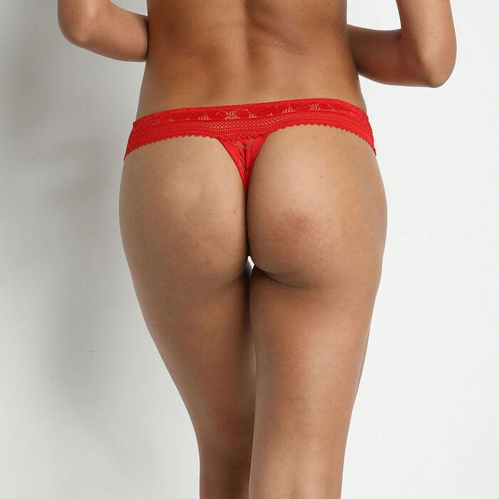 Tanga de encaje con motivos florales Rojo Amapola Daily Glam, , DIM