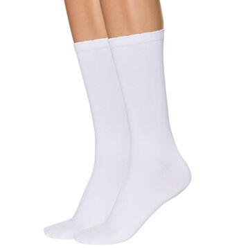 Lot de 2 mi-chaussettes blanches seconde peau Femme-DIM