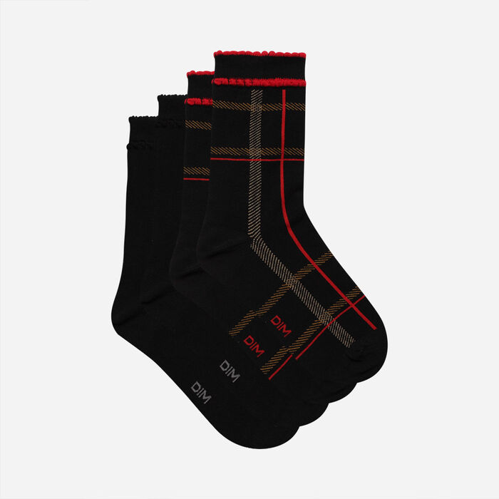 Pack de 2 pares de calcetines de mujer con estampado tartán Rojo y Negro Coton Style, , DIM