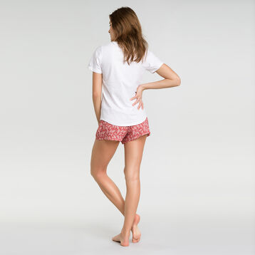 Pantalón corto de pijama rosa con estampado vegetal - Fashion, , DIM