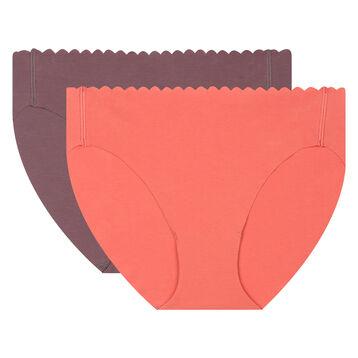 Pack de 2 braguitas coral y ciruela Body Touch Coton, , DIM