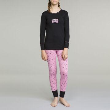 Pijama de manga larga para niña 2 piezas negro Pijama de manga larga para niña 2 piezas negro y rosa inspiración gamingy rosa inspiración gaming, , DIM
