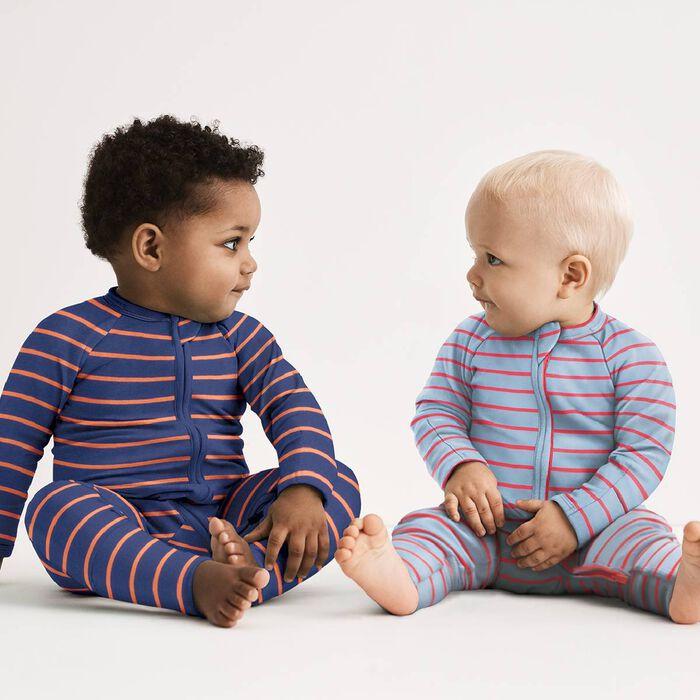 Pijama con cremallera de algodón de rayas grises azuladas y naranjas, , DIM