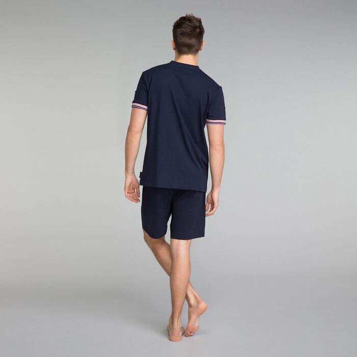 Camiseta de pijama con cuello pico azul marino - Mix and Match, , DIM